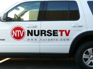Nurse TV vehicle graphic profile close up